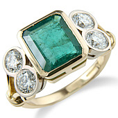 Rectangular Emerald and Diamond Rub Set Ring With Split Shank