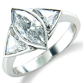 Marquise and Trilliant Cut Rub Set Ring