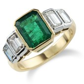 Rectangular Emerald and Diamond Rub Set Deco Style 5-stone Ring